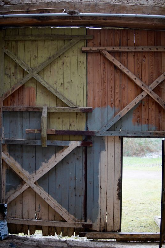 Colourful barn doors